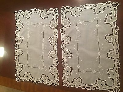 "12  Elegant Antique Italian White Linen Embroidered Cutwork  11"" X 16"" Placemats"