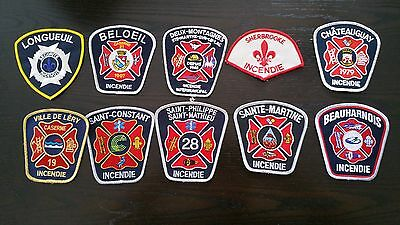 QC Pompiers Incendie Fire Fireman Firefighters Dept Patches lot of 10 #10YUT Mix