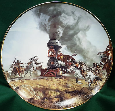 """Attacking the Iron Horse"" Steam Engine Train Frank McCarthy Hamilton ~24K G RIM"