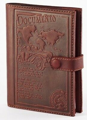 Brown Genuine LEATHER Auto Documents + Passport COVER Drivers Licence HANDMADE