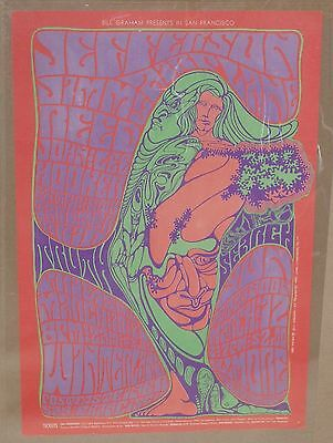 Original Nm- Bg 54 Jefferson Airplane Jimmy Reed  Fillmore Family Dog Era Poster