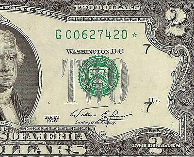 1976 $2 Two Dollar Bill Misaligned Overprint Star Error Note Paper Money Ef-Au