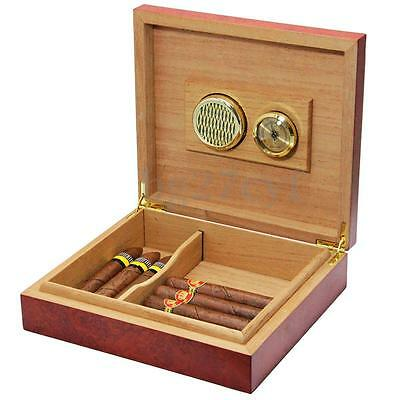 20 Count Cedar Wood Lined Cigar Humidor Humidifier With Hygrometer Case Box AU
