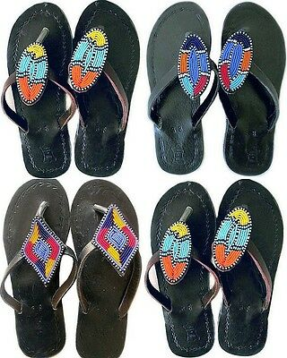 African Masai Leather Ethnic Sandals, Handmade Fairtrade Tribal Holiday Gifts