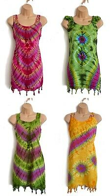 African Tie Dye Ethnic Tribal Colourful Dress, Boho Birthday Holiday Gifts