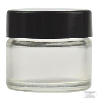 15ml Clear Glass Lip Balm Cosmetic Jar with Black wadded cap pack x24