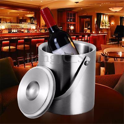 2L Stainless Steel Double Walled Ice Bucket Bar Beer Wine Cooler With Lid Handle
