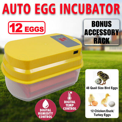 12 Eggs Incubator Fully Automatic Digital LED Poultry Chicken Duck Hatcher New
