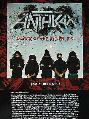 Anthrax - Magazine Cutting (Full Page Advert) (Ref E5)