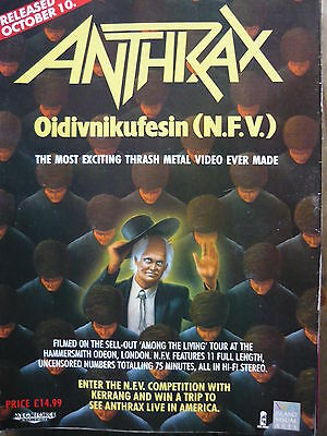 Anthrax - Magazine Cutting (Full Page Advert) (Ref Nc)