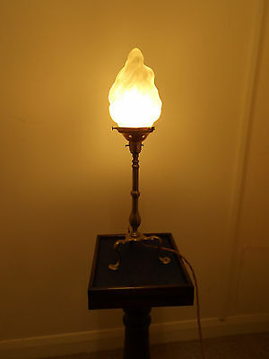 Edwardian Brass Pullman Lamp With Flame Effect Shade