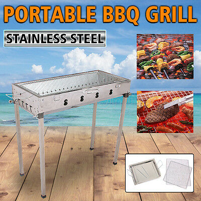 Portable BBQ Charcoal Grill Barbecue Stainless Steel Outdoor Camping Picnic NEW