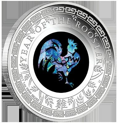 2017 $1 Australian Opal Series - Rooster -1 oz Silver Proof Coin - Perth Mint
