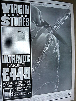 Ultravox - Magazine Cutting (Full Page Advert) (Ref Wf)