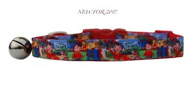 "Handmade Red pink blue green ""Noddy & Friends "" safety kitten cat collar 3 sizes"
