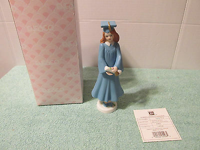 Growing up Girls Enesco Brunette Graduation High School College Figurine Box