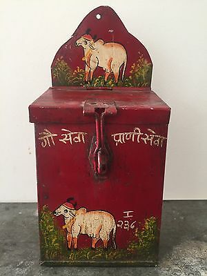 Vintage Indian Money Box Tin Cow Charity Old Storage Lockable Hand painted Holy