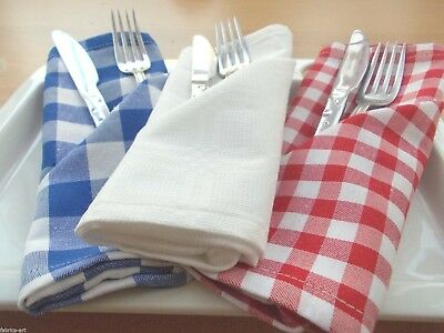 """Set of 4 Gingham Lunch Cloth Napkins 17"""" Blue Red Gingham Check Fabric Napkins"""