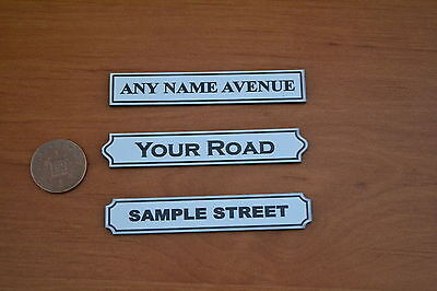 New Dolls House STREET signs 1/12th- personalised laser engraved laser cut