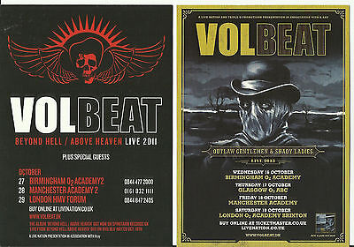 Set of 3 different VOLBEAT UK Flyers 2011 2013 2016