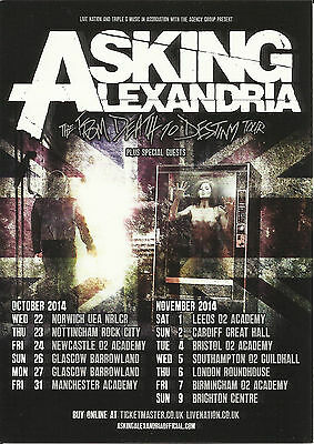 2 x UK Tour Flyer ASKING ALEXANDRIA The From Death To Destiny Tour 2014