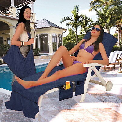 Lounger Mate Beach Towel Sun Lounger For Holiday Garden Lounge with Pockets BRT