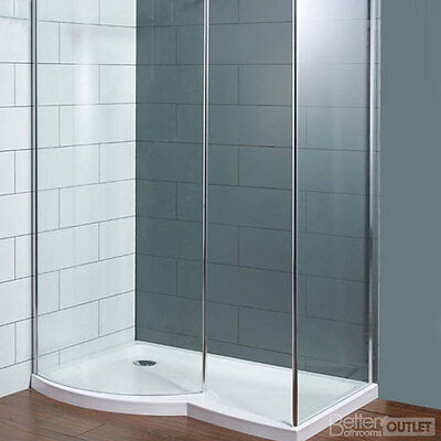 1400mm Left Hand Curved Shower Enclosure with Tray Glass Chrome Bathroom - SALE