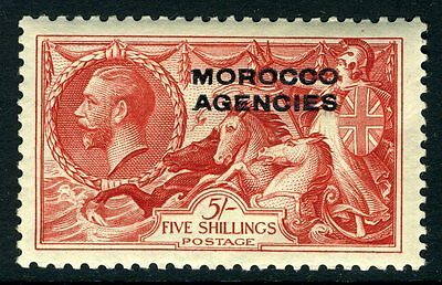 MOROCCO AGENCIES-1937  5/- Bright Rose-Red Sg 74 LIGHTLY MOUNTED MINT V13640