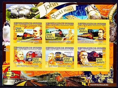 Guinea 2008 MNH Imperf SS, John Shedd Reed, Steam to Diesel Train, Railways -A76