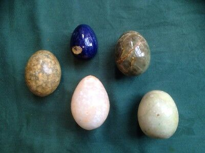 5 Hand Carved ALABASTER EGGS Marble  Blue Italy