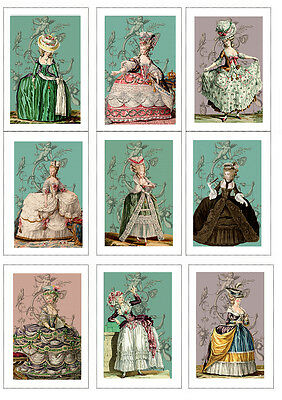 Fabric Panels Marie Antoinette Fashion  Set of 9 ATC Fabric Blocks