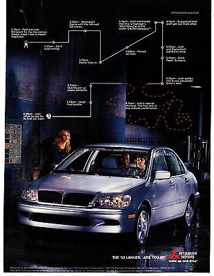 "Mitsubishi 2003 Silver Lancer Print Ad ""Are You In?"" Wake Up and Drive"