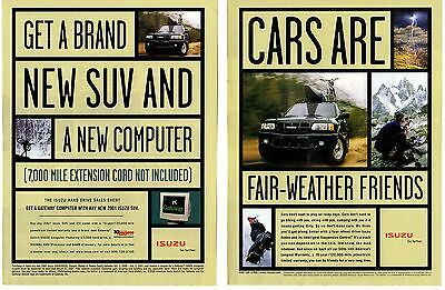"Lot of 3 Isuzu 2001 Rodeo Print Ads ""Cars Are Fair Weather Friends"""