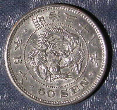 1905 (Year 38) Japan 50 Sen Silver Y# 25; Lustrous Uncirculated Coin