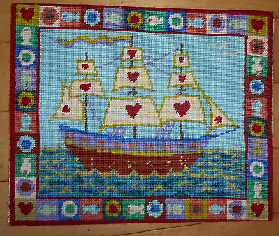 "PRIMAVERA ""SHIP OF HEARTS"" NEEDLEPOINT COMPLETED & MOUNTED 12.75"" x 10"" JOANNA A"