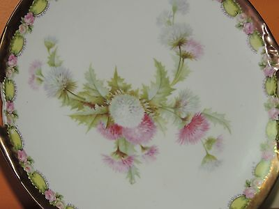 """Hand Painted Prussia 9.25"""" Plate marked M.W Co 19th Century Mitchell Woodbury Co"""