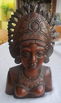 Stunning Vintage  Indonesian Hand Carved Hard Wood Wooden Bust Of Lady