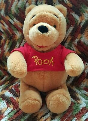 "Disney Adorable Soft 9"" Sitting Winnie The Pooh Plush Stuffed Teddy Bear"