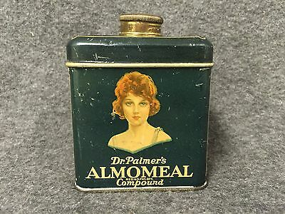 Dr. Palmers Almomeal Compound Tin Talcum Powder c.1920s Antique Advertising
