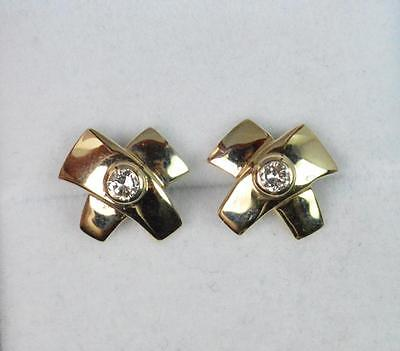 Quality Natural Diamond & 9ct Gold Pair of Ladies Stud Earrings f1506