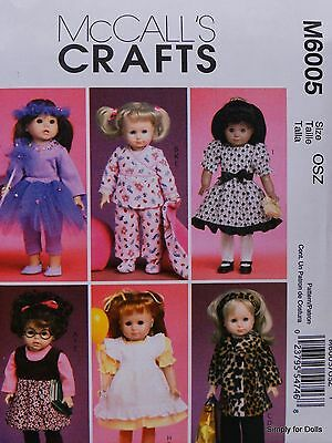 """McCall's 6005 Sewing PATTERN for 18"""" American Girl DOLL CLOTHES 6 Outfits NEW"""