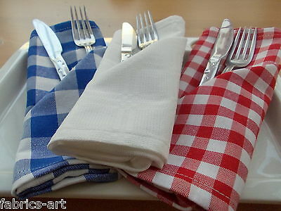 """Set of 12 Gingham Lunch Cloth Napkins 17"""" Blue Red Gingham Check Fabric Napkins"""