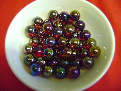 NEW 10 RUBY LUSTERED 14mm LUSTRED GLASS MARBLES. GAME or COLLECTOR'S ITEMS