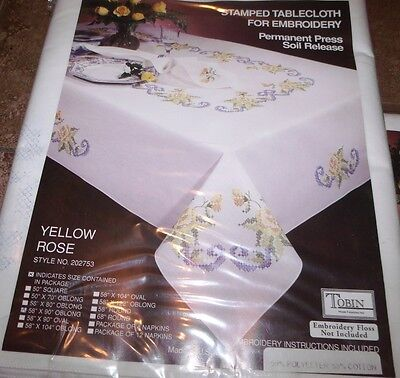 """Tobin Stamped Tablecloth YELLOW ROSE 58"""" x 90  Embroidery & Cross Stitch"""