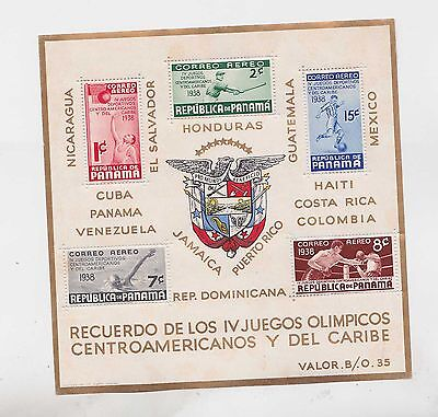 panama 1938 Sc C47a s/s MNH american caribbean games      g944