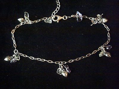 Sterling silver anklet with heart & quartz charms, 925 ankle bracelet 9 inches