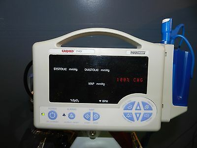 CaseMed Model 740 Vital Signs Monitor with Sp02, Bp, Temp, Leads, Cables, Stand