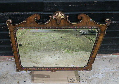 ANTIQUE FRENCH DECORATIVE WALL MIRROR, original bevelled glass -19th C