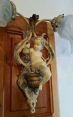 Antique French Putti Cherub Sconce Spelter Lamp