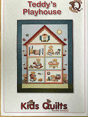 Teddy's Playhouse Child's Single Bed Applique Quilt Pattern By Kids Quilts